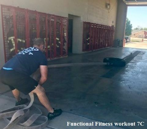 7C Crew Member Functional Fitness Workout Pulling Fire Hose
