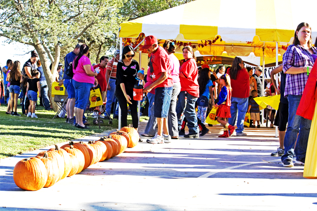 People Wander Among Tents at the Fall Festival